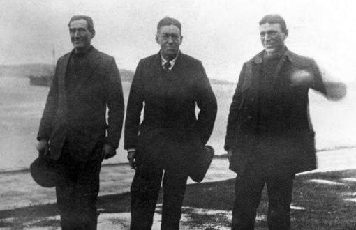 Tom Crean, Ernest Shackleton and Frank Worsley pictured before the first rescue attampt
