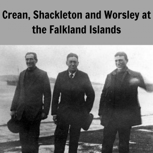 Tom Crean, Ernest Shackleton and Frank Worsley pictured before the first rescue attempt