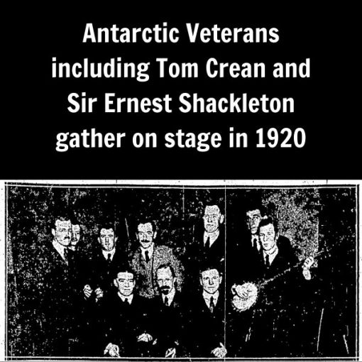 Tom Crean with Shackleton and Endurance crew members at the Royal Philharmonic Hall - 1920