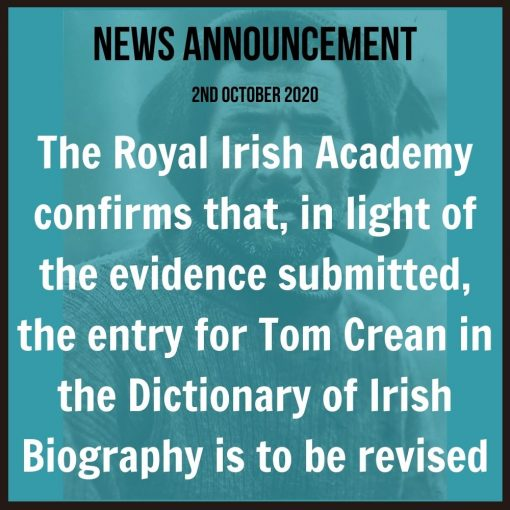Royal Irish Academy Announce Crean's Story is to be revised